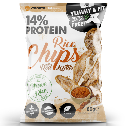 Forpro 14% Protein Rice Chips With Red Lentils 60g